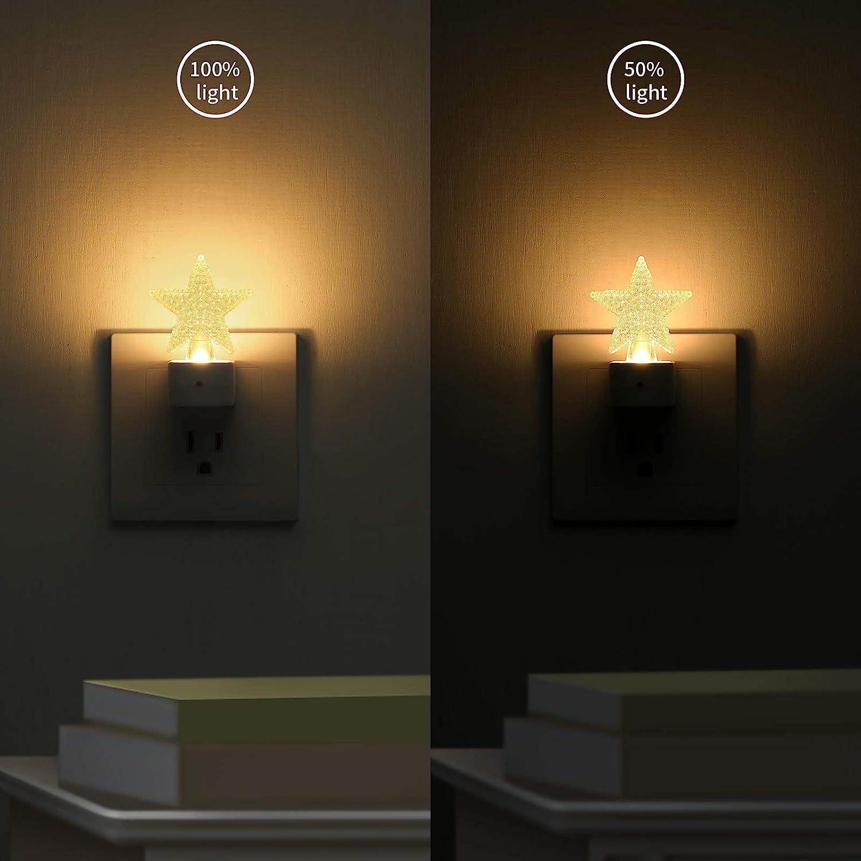 Kids Star Plug-in LED Night Light Gift Nursery Cute Nightlight for Bathroom Dusk to Dawn Sensor /& Manual Switch Adjustable Brightness D/écor