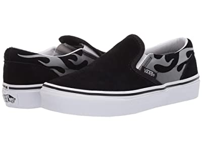 Vans Kids Classic Slip-On (Little Kid) ((Suede Flame) Black/True White) Boys Shoes
