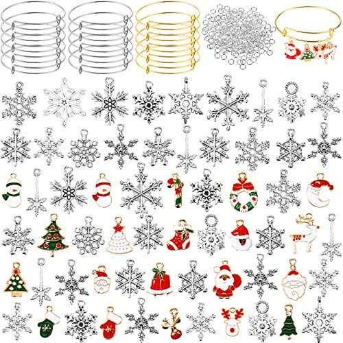 305 Pieces DIY Jewelry Making Supplies, Include 70 Antique Silver Snowflake Charms Pendant, 20 Christmas Enamel Charm, 15 Expandable Blank Bracelet Adjustable Wire Bangle with 200 Open Jump Ring