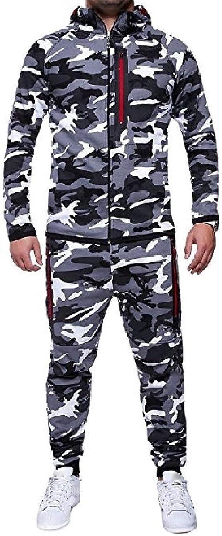 Beeatree Mens Tracksuit Set Camouflage Sweatshirt Joggers Sports Suit