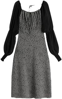ملابس الشاطئ النسائية Wujianzzholyq ، فستان زهري طويل الأكمام تصميم ربط أنيق ضيق ميدي فستان مزاج للنساء (الحجم: كبير)