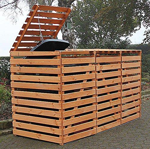 Promadino Mülltonnenbox Vario V Müllbox für 3 Mülltonnen HONIGBRAUN 512302