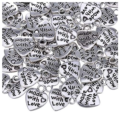 Guanici Mini Colgante de corazón Charm corazón de plata antigua Colgante Charm 'Made with Love' para manualidades de bricolaje caja de regalo de boda pulsera fabricación de joyas accesorios 150 piezas