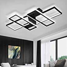 Jaycomey Ceiling Modern Light Acrylic, 95W Flush Mount LED Ceiling Lighting Fixtures, Black Metal Square LED Ceiling Lamp ...