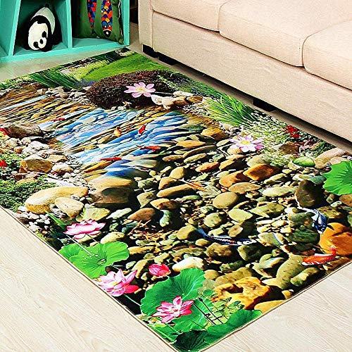 whmyz 3D gedruckte Teppich Wohnzimmer Couchtisch Schlafzimmer Nacht Esszimmer Küche Bad Bad Eingangstür Türmatte Bodenmatte-Vom Bach_50 × 80 cm
