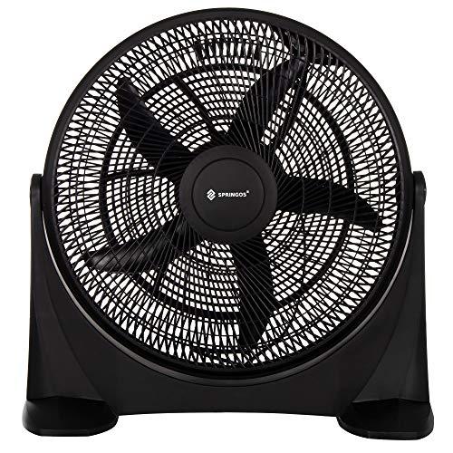 SPRINGOS Ventilator | Schwarz | Ø 45 cm | 110W | mit 3 Geschwindigkeitsstufen | Bodenventilator | Haus Büro Belüftung