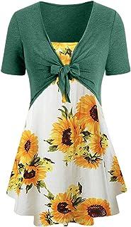 Dubocu Women Top Camis Vintage Sunflower Floral Print Summer Bohemian Shirt Blouse Tunic Pullover Vest Top Suit