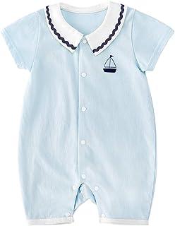 pureborn Baby Boys Cotton Romper Summer Clothes Sailor Beach Outfit 0-24 Months