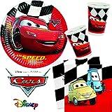 40 tlg. Party-Set * CARS RED * für Kindergeburtstag mit 10 Kinder   mit Pappteller + Serviette + Becher   Kinder Kindergeschirr Deko