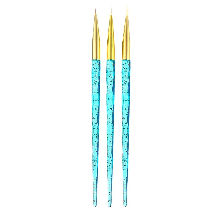 TOOGOO 3ピース/セット、ネイルアート、クリスタルのハンドル、フレンチのフラワーのデザイン、ライン、ライナー、グリッド、絵画描画ブラシUv ジェルのペン、マニキュアのツール