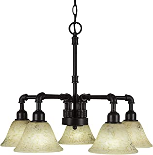 Toltec Lighting 285-DG-508 Vintage 5 Light Chandelier with Italian Marble Glass 7