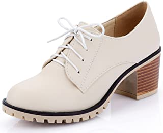 DoraTasia Womens Casual Round Toe Lace Up Shoes Chunky Heel College Style Ankle High Leather Shoes