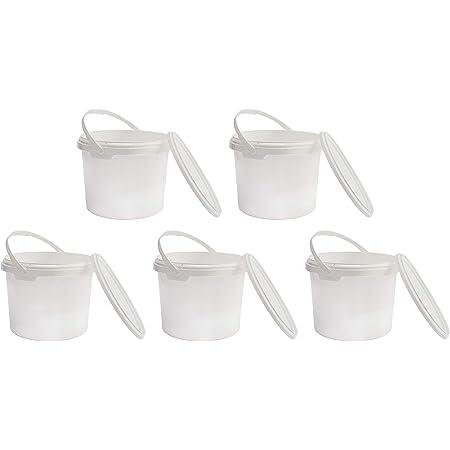 Nipter Seau en Plastique de qualité Alimentaire avec Couvercle, Blanc, 100% recyclables, 5L x 5 pièces