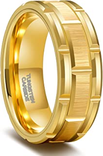 Greenpod Mens Tungsten Ring Wedding Band 8mm 10mm Engraved I Love You Thin Blue/Rose Gold/Black Centre Groove Comfort Fit ...