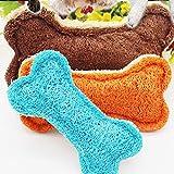 Xmiral Slip da Masticare con Denti puliti a Forma di Osso in luffa Naturale per Animali Domestici (14 * 9.5 * 3cm,Colore Casuale)