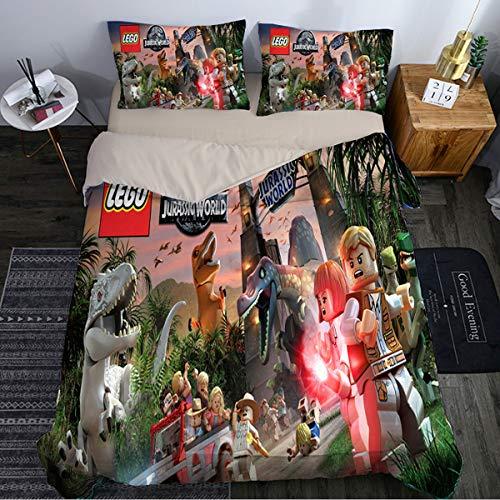 QWAS Jurassic - Juego de ropa de cama de tres piezas (funda nórdica y 2 fundas de almohada 3D, diseño de dinosaurio (L1,200 x 200 cm + 50 x 75 cm x 2)