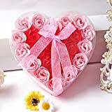 Saint Valentin, 24 Pcs Savon De Bain Parfumé dans Boîte De Coeur Savon pour Le Corps pour Le Cadeau De Fête De Mariage Cadeau De Saint Valentin