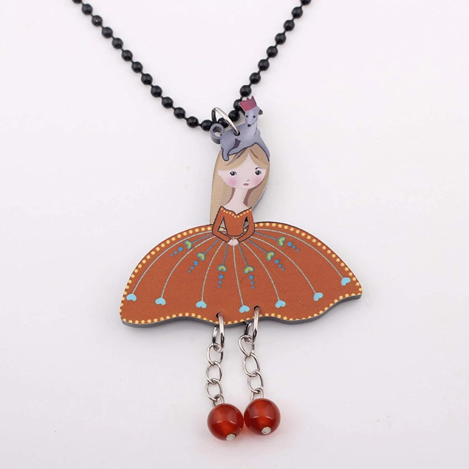 N/A Necklace Pendant Angel Girls New Collar & Pendant Necklace Colorful for Girl Lovely Cute Figure Acrylic Women Jewelry Fairy Wings Christmas Birthday Gift