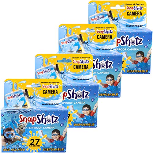 SnapShotz Disposable Waterproof Pool Underwater 35mm Camera, Pack of 4