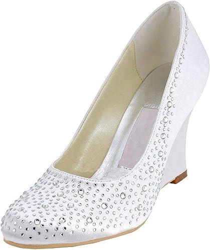 ZHRUI Talons Hauts Hauts en Satin de Mariage pour Femmes (Couleuré   Ivory-9cm Heel, Taille   4.5 UK)  vente avec grande remise