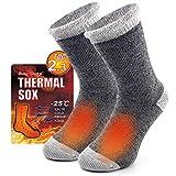 Thermal Socks Men, Busy Socks Ladies Winter Home Bed Sleeping Floor Fleece Padded Slipper Warm Socks for Gift 1 Pair Light Grey