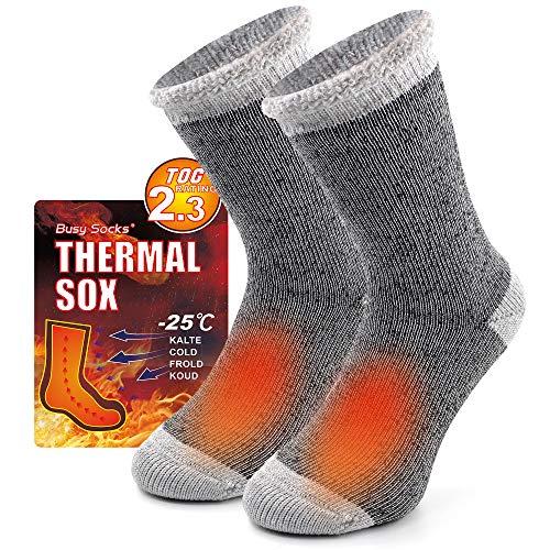 Women's Hiking Warm Socks, Busy Socks Girls Cozy Fur Lined Insulated Heat Thermal Fuzzy Socks for Men Winter Plus 1 Pair Light Grey