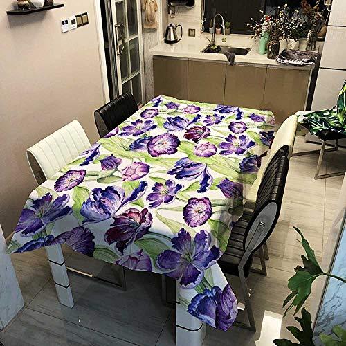 XXDD Manteles rectangulares Impermeables de la Serie Forest, árbol Verde, Flores y pájaros, Mantel de café, té, decoración, Cubierta de Mesa A3 140x140cm