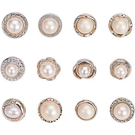NBEADS 96 PC Cucire Bottoni in Finta Perla, 12 Tipi di Bottoni di Perle di Plastica con Gambo Bottoni Rotondi Abbellimenti Cucito Artigianato per Abiti Camicie Abiti Cappotti Maglioni, Bianco