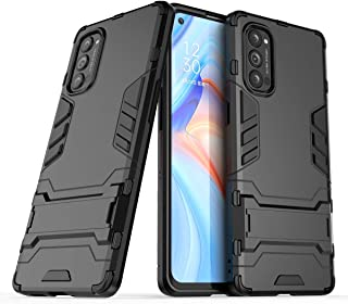 OPPO Reno 4 Pro Case, Ikwcase Dual Layer Shockproof Anti-scratch TPU +PC Hybrid Heavy Duty Armor Protective Stand Case Cov...