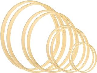 Larcenciel Kranz Ringe 8 Stück 4 Größen 5 6 8 & 10 ZollHolz Bambus Blumenkranz Makramee Craft Hoop Ringe für DIY Traumfänger, Hochzeitskranz Dekor und Wandbehang Handwerk