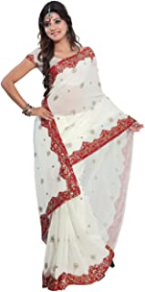 Indian Trendy Women's Bollywood Sequin Embroidered Sari Festival Saree Unstitched Blouse Piece Costume Boho Party Wear