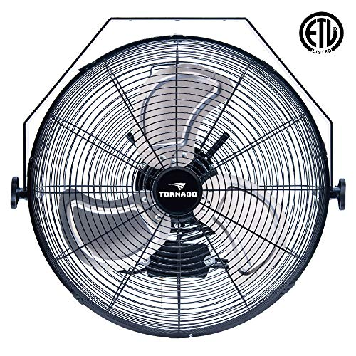 Tornado - 18 Inch High Velocity Industrial Wall Fan - 3 Speed - for Industrial, Commercial, Residential, and Shop Use - ETL Safety Listed
