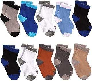 10 Pairs Toddler Boy Crew Socks Kids Cushion Dress Socks