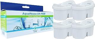 AquaHouse 4X AH-PBM Filtre à Eau Cartouches compatibles avec Brita Maxtra carafes filtrantes, Bi-Flux & Tassimo