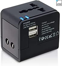 Lewis N. Clark Global Wall Adapter + Portable Charger with Dual USB Ports for Standard + Recessed...
