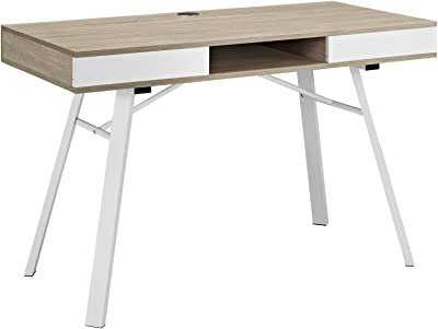Modway Stir Wood Grain and Metal Writing Office Desk With Storage Space In Oak