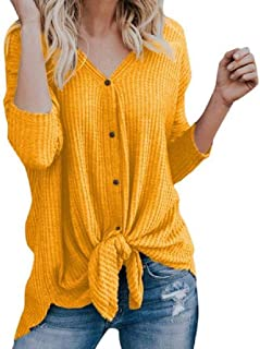 pipigo Womens V Neck Long Sleeve Tie Knot Tops sólido Casual Camisetas