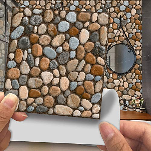 Hiser 20 Piezas Adhesivos Decorativos para Azulejos Pegatinas para Baldosas del Baño/Cocina Imitación de Cuero Estilo de Piedra 3D Resistente al Agua Pegatina de Pared (Guijarros 3D,10cm)