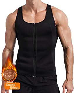 Men's Waist Trainer Neoprene Sauna Vest Weight Loss Sweat Zipper Tank Top