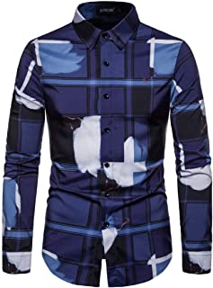 Fairy-Baby Men's Long Sleeve Elastic Casual Slim Large Size Autumn Shirt with Digital Printing Design