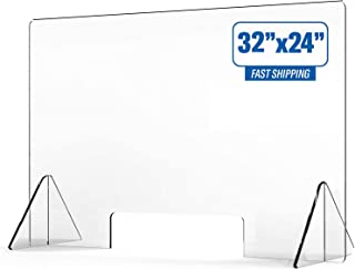 Plexiglass Sneeze Guard for Counter, Retail Sneeze Guard, Protective Shield Barrier Made of 100% Acrylic for Retail, Offic...