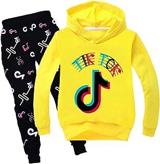 Conjunto de sudadera con capucha y pantalones de TIK Tok para niña, conjunto de ropa para niños unisex