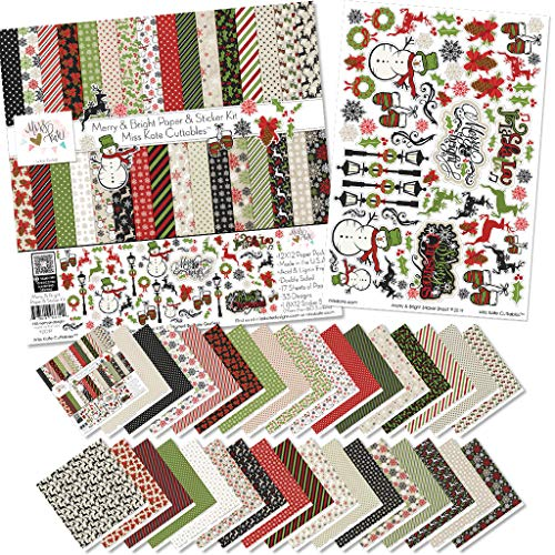Paper & Sticker Kit - Merry and Bright - for Christmas - 17 Double-Sided 12x12 Papers with 33 Designs & 1 8X12 Sticker Sheet - Scrapbooking Card Making Crafting - by Miss Kate Cuttables