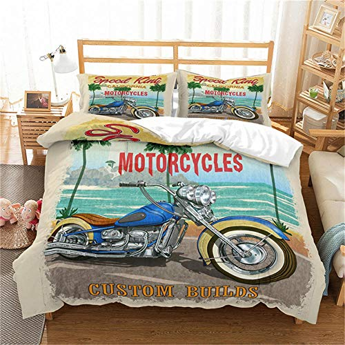 Double Duvet Cover Set Motocross Racer Grey City and Motorcycle 3D Print Quilt Cover Set with 2 Pillow Shames Lightweight Soft Microfiber Bedding Sets with Zipper Closure 3PCs-A_GB-Double200cm×200cm