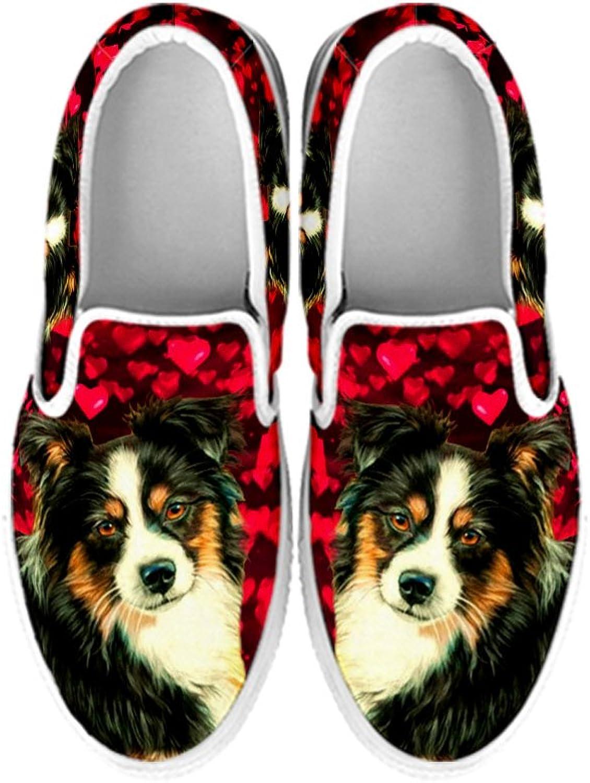 Petkanvas Cute Australian Shepherd Print Slip ONS shoes for Women White