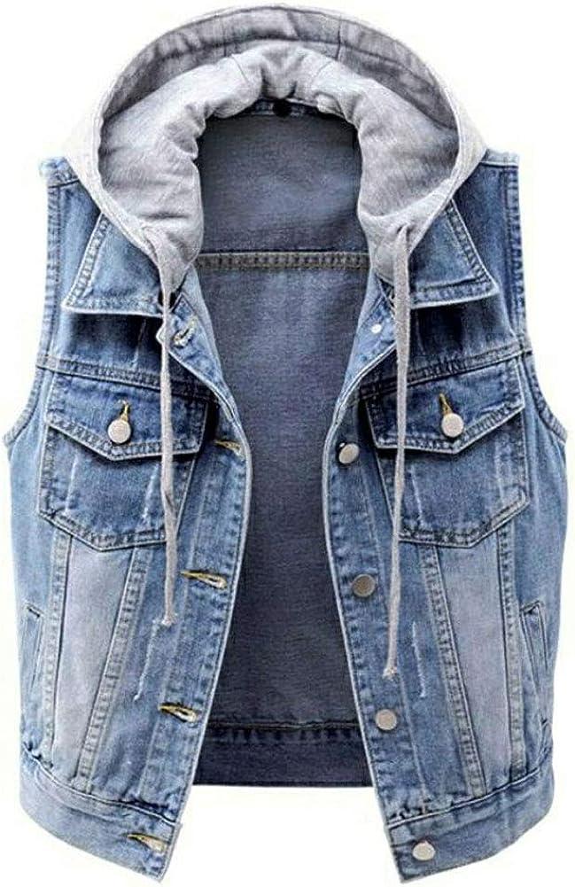 LifeShe Women's Casual Denim Vest Detachable Hoodie Distressed Jean Jacket Coat