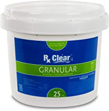 Rx Clear Stabilized Granular Chlorine | One 25-Pound Bucket | Use As Bactericide, Algaecide, and Disinfectant in Swimming Pools and Spas | Slow Dissolving and UV Protected