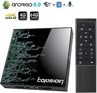Android 9.0 TV Box, YYQ TP01 Android TV Box 4GB RAM 64GB ROM, Dual-WiFi 2.4GHz/5GHz Bluetooth Quad Core 64 Bits 3D/4K Full HD/H.265/USB3.0 BT 4.0 Smart TV Box