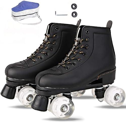 Patins à roulettes adultes   enfants, matériel en cuir - pour les sports de plein air, club de patinage à roulettes pour débutants et avancés (cadeau d'anniversaire parfait),noir-Non-FlashWheel-41