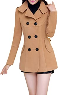 Ms Stunner Womens Winter Spring Solid Color Double Breasted Elegant Wool Coats